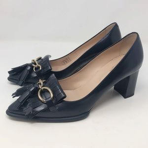 Tod's Tassel Leather Point-Toe Pumps navy blue